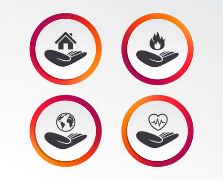 Helping hands icons. Health and travel trip insurance symbols.
