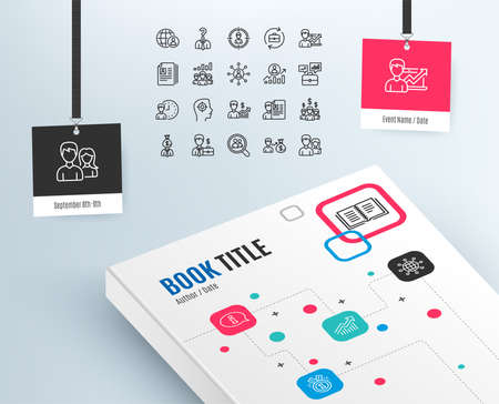 Human Resources line icons on Set of Business Networking, Job Interview and Head Hunting signs.