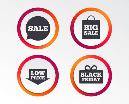 Sale speech bubble icon. Black Friday gift box symbol. Foto de archivo - 98352988