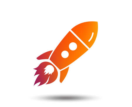 Start up icon. Startup business rocket sign. Blurred gradient design element. Vivid graphic flat icon. Vector Stock Illustratie