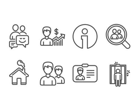 Set of Couple, Communication and Identification card icons. Business growth, Search employees and Elevator signs. Two male users, Business messages, Person document. Vector Çizim
