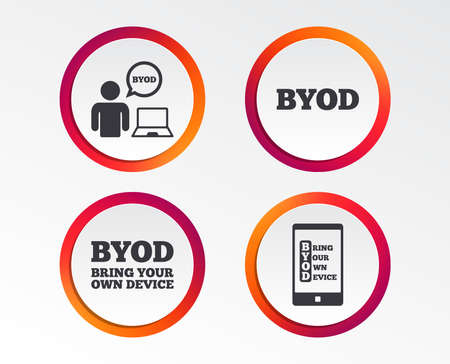 BYOD icons. Human with notebook and smartphone signs. Speech bubble symbol. Infographic design buttons. Circle templates. Vector
