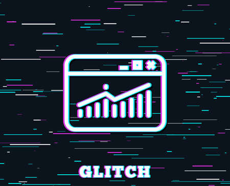 Glitch effect. Website Traffic line icon. Report chart or Sales growth sign. Analysis and Statistics data symbol. Background with colored lines. Vector Ilustração