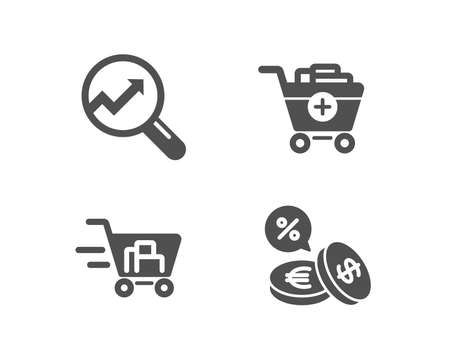 Set of Add products, Shopping cart and Analytics icons. Currency exchange sign. Shopping cart, Online buying, Audit analysis. Euro and usd. Quality design elements. Classic style. Vector