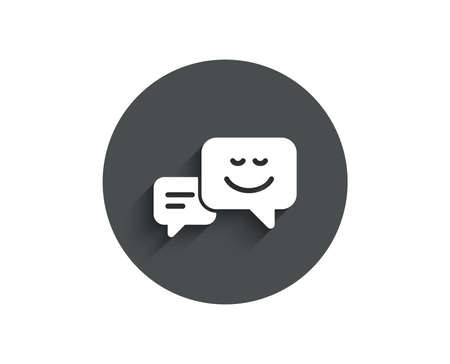 Message speech bubbles with Smile simple icon. Chat emotion sign. Circle flat button with shadow. Vector Ilustração