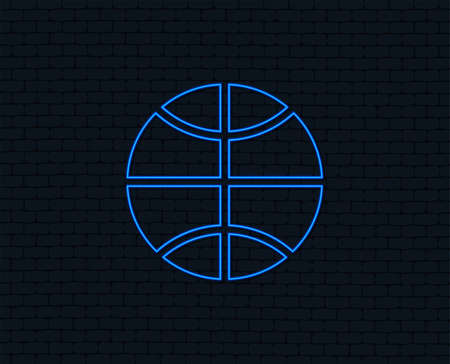 Neon light. Basketball sign icon. Sport symbol. Glowing graphic design. Brick wall. Vector 向量圖像