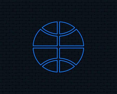 Neon light. Basketball sign icon. Sport symbol. Glowing graphic design. Brick wall. Vector Illustration