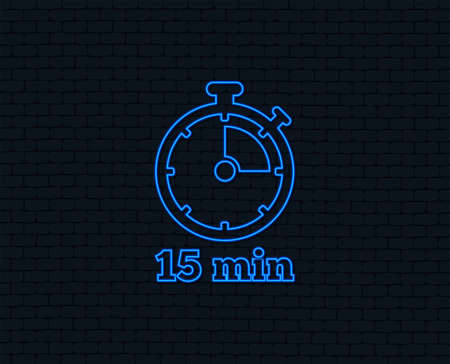 Neon light. Timer sign icon. 15 minutes stopwatch symbol. Glowing graphic design. Brick wall. Vector Illustration