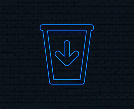 Neon light. Send to the trash icon. Recycle bin sign. Glowing graphic design. Brick wall. Vector Illustration
