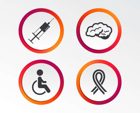 Medicine icons. Syringe, disabled, brain and ribbon signs. Breast cancer awareness symbol. Handicapped invalid. Infographic design buttons. Circle templates. Vector
