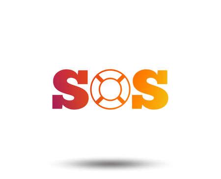 SOS sign icon. Lifebuoy symbol. Blurred gradient design element. Vivid graphic flat icon. Vector