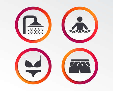 Swimming pool icons. Shower water drops and swimwear symbols. Human stands in sea waves sign. Trunks and women underwear. Infographic design buttons. Circle templates. Vector