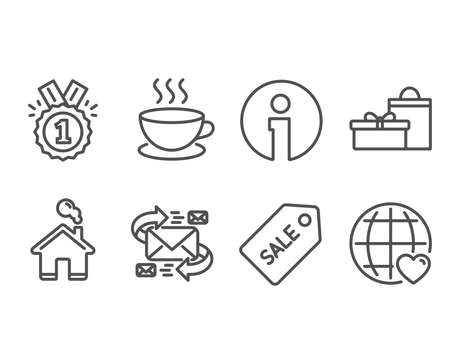 Set of Approved, Cappuccino and Sale ticket icons. E-mail, Gifts and International love signs. Winner badge, Espresso cup, Discount coupon. Communication by letters, Birthday boxes, Internet dating Çizim