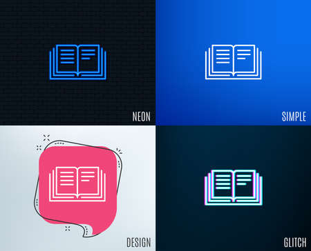 Glitch, Neon effect. Book line icon. Education symbol. Instruction or E-learning sign. Trendy flat geometric designs. Vector Illustration