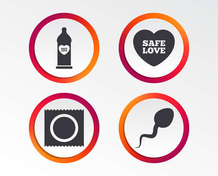 Safe sex love icons. Condom in package symbol. Sperm sign. Fertilization or insemination. Infographic design buttons. Circle templates. Vector