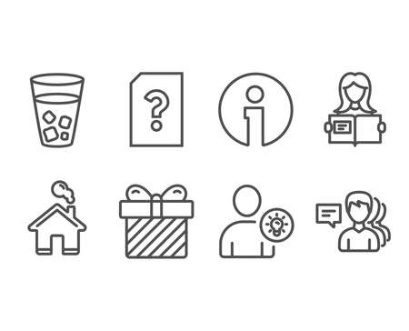Set of Unknown file, Surprise and User idea icons. Woman read, Ice tea and People signs. Doc with question mark, Present with bow, Light bulb. Girl studying, Soda beverage, Support job. Vector illustration.