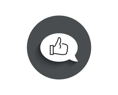 Positive feedback simple icon. Communication symbol. Speech bubble sign. Circle flat button with shadow. Vector Banque d'images - 98642744