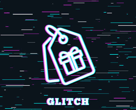 Glitch effect. Coupons with Gifts line icon. Present box or Sale sign. Birthday Shopping symbol. Package in Gift Wrap. Background with colored lines. Vector Illustration