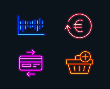 Neon Lights Set Of Exchange Currency Column Diagram And Credit
