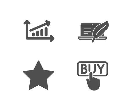Set of Chart, Star and Copyright laptop icons. Buying sign. Presentation chart, Best rank, Writer device. E-commerce shopping. Quality design elements. Classic style. Vector