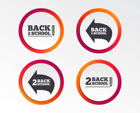 Back to school icons. Studies after the holidays signs. Pencil symbol. Infographic design buttons. Circle templates. Vector