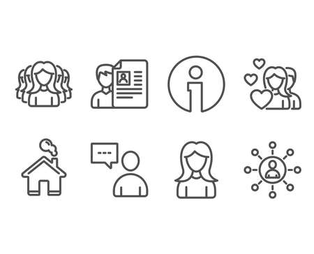Set of Couple, Woman and Women group icons. Job interview, Users chat and Networking signs. Valentines day, Girl profile, Lady service. Cv file, Communication concept, Business communication. Vector