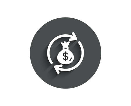 Cash exchange simple icon. Dollar money bag symbol. Money transfer sign. Circle flat button with shadow. Vector Ilustrace