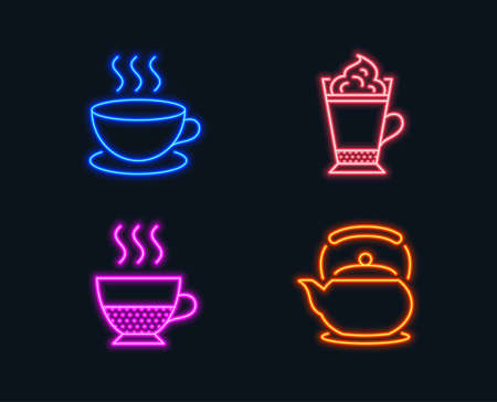 Neon lights. Set of Cappuccino, Latte coffee and Doppio icons. Teapot sign. Espresso cup, Hot drink with whipped cream, Coffee drink. Tea kettle. Glowing graphic designs. Vector