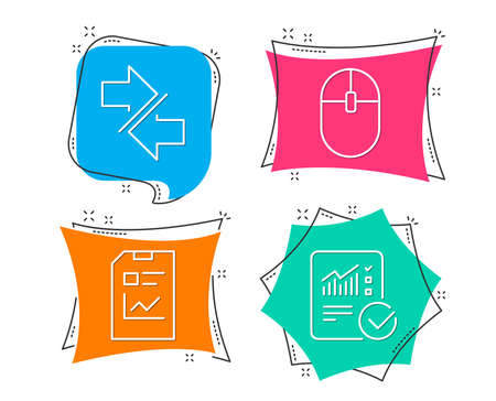Set of Synchronize, Report document and Computer mouse icons. Checked calculation sign. Communication arrows, Statistics file, Pc equipment. Statistical data. Flat geometric colored tags. Vector Ilustrace