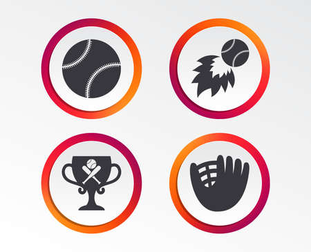 Baseball sport icons. Ball with glove and two crosswise bats signs. Fireball with award cup symbol. Infographic design buttons. Circle templates. Vector