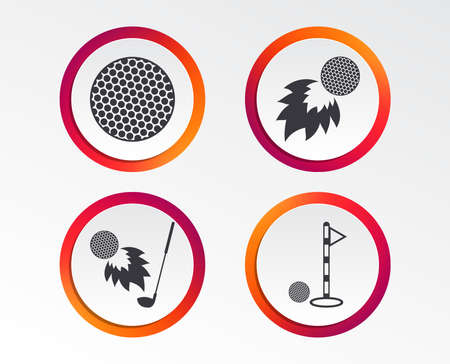 Golf ball icons. Fireball with club sign. Luxury sport symbol. Infographic design buttons. Circle templates. Vector