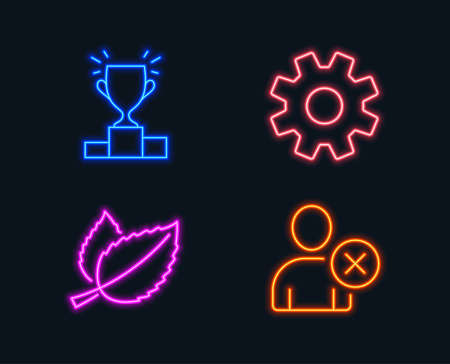 Neon lights. Set of Winner podium, Mint leaves and Service icons. Delete user sign. Competition results,  herbal, Cogwheel gear. Remove profile. Glowing graphic designs. Vector Illustration