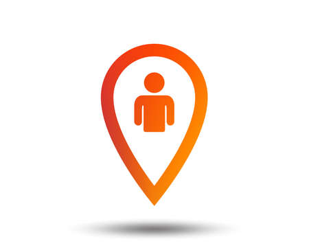Map pointer user sign icon. Person location marker symbol. Blurred gradient design element. Vivid graphic flat icon. Vector