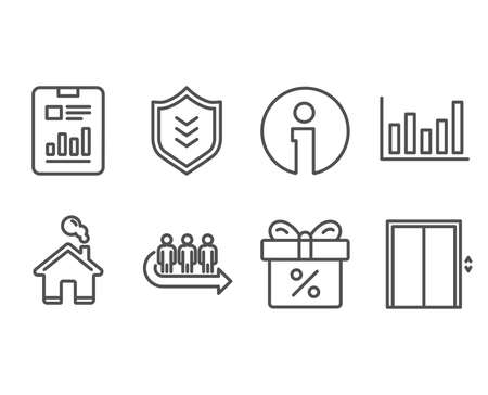 Set of Column chart, Report document and Discount offer icons. Shield, Queue and Lift signs. Financial graph, Page with charts, Gift box. Protection or security, People waiting, Elevator. Vector