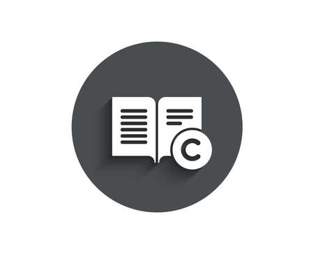 copyright simple icon. Copywriting or Book sign. Feedback symbol. Circle flat button with shadow. Vector