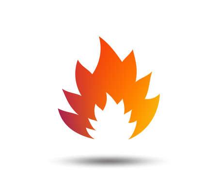 Fire flame sign icon. Heat symbol. Stop fire. Escape from fire. Blurred gradient design element. Vivid graphic flat icon. Vector Vettoriali