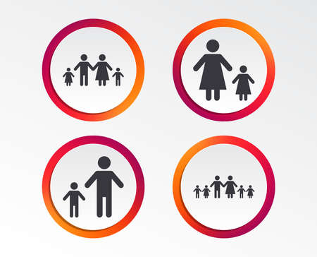 Large family with children icon. Parents and kids symbols. One-parent family signs. Mother and father divorce. Infographic design buttons. Circle templates. Vector
