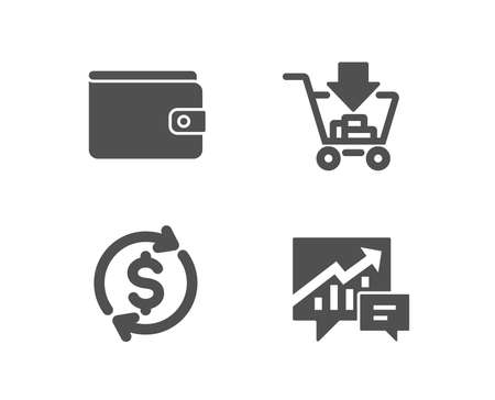 Set of Money wallet, Dollar exchange and Shopping icons. Accounting sign. Payment method, Banking rates, Add to cart. Supply and demand. Quality design elements. Classic style. Vector