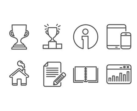 Set of Book, Article and Award cup icons. Mobile devices, Winner podium and Marketing statistics signs. E-learning course, Feedback, Trophy. Smartphone with tablet, Competition results, Web analytics Çizim