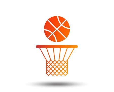 バスケットボールバスケットとボールサインアイコン。スポーツ記号。ぼやけたグラデーションのデザイン要素。  イラスト・ベクター素材