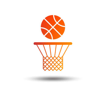 Basketball basket and ball sign icon. Sport symbol. Blurred gradient design element.