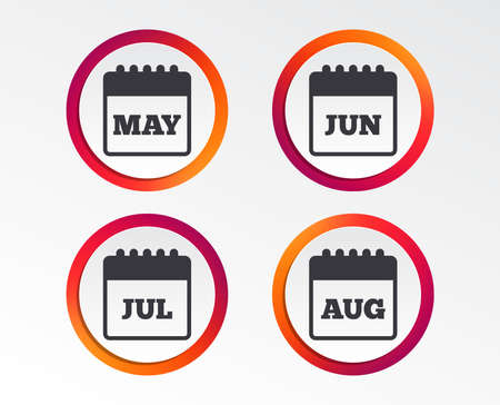 Calendar icons showing different months. Date or event reminder sign. Infographic design buttons. Circle templates. Vector Illustration