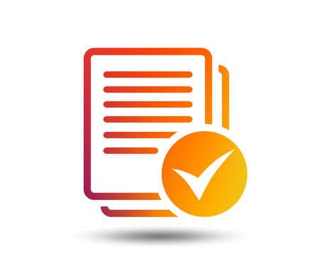 Text file sign icon. Check File document symbol. Blurred gradient design element. Vivid graphic flat icon. Vector Standard-Bild - 98893871