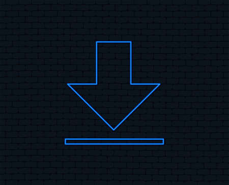 Neon light. Download icon. Glowing graphic design. Brick wall. Vector Ilustrace