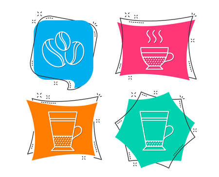 Set of different types of coffee on colorful speech bubbles Иллюстрация