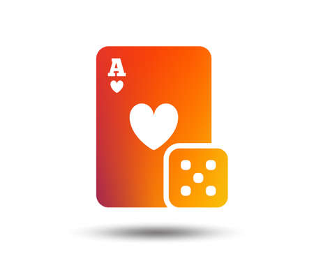 Casino sign icon. Playing card with dice symbol. Blurred gradient design element. Vivid graphic flat icon. Vector