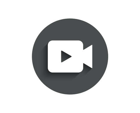 Video Camera simple icon. Movie or Cinema sign. Multimedia symbol. Circle flat button with shadow. Vector