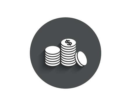 コインお金シンプルなアイコン。銀行通貨記号。現金記号。影付きのフラット ボタンを囲みます。ベクトル