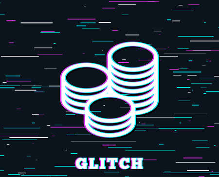 Glitch effect. Coins money line icon. Banking currency sign. Cash symbol. Background with colored lines. Vector