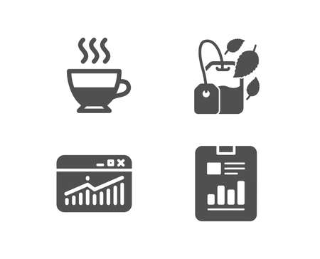Set of Website statistics for coffee and tea. Report document sign. Page with charts. Quality design elements. Classic style. Vector